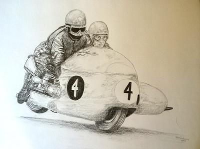 1-Fritz Scheidegger and John Robinson, BMW RS54, world champions 1965 & 66, 14x17 graphite pencil, nov 15, 2014