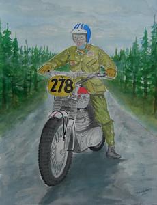 Steve McQueen, 1964 ISDT, East Germany, 10x14 watercolor, apr 6, 2014 CIMG0981
