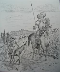 Don Quixote and Sancho Panza, pencil, 14x17, may 28, 2014 CIMG9782 - Copy