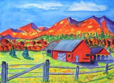 Bloomingdale Farm, watercolor, 10x14, oct 17, 2014