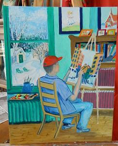 Artist at Work, 16x20 oil, march 7, 2014 DSCN2943