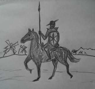 Don Quixote, pencil, 10x10  may 5, 2014 CIMG9769 - Copy
