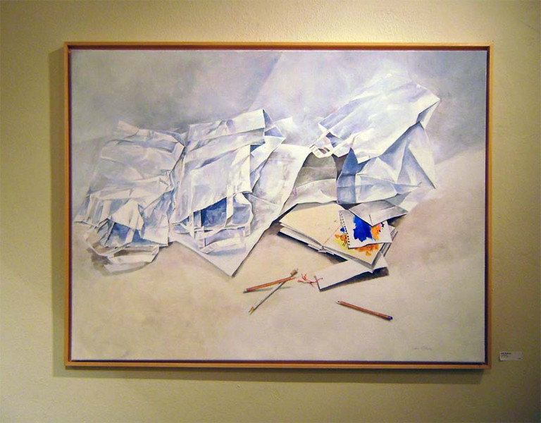 ANOTHER CRUMPLED PAPER STILL LIFE<br /> <br /> With what looks like a book of matches. Hmm . . .