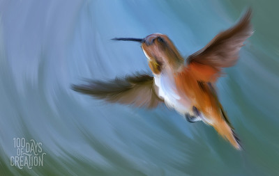 "Day 95 - Humming Along ~ Multimedia painting, 16""x10"""