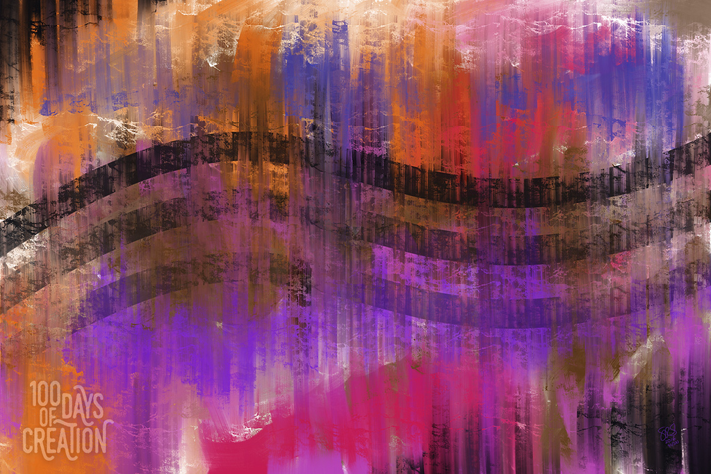 "Day 91 - StripeStripeStripe ~ Multimedia painting, 12""x8"""