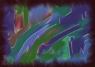"Day 83 - Dazed ~ Multimedia painting, 14""x10"""