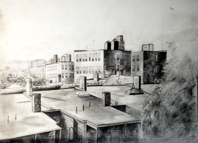 1127 Commenwealth, pencil sketch, 1972