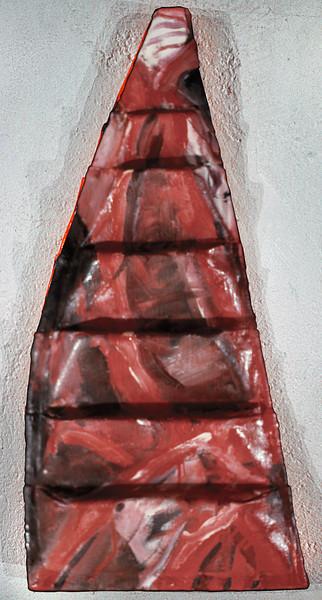 "in medias res 6. <br /> Oil on formed linen, 12.5"" x 4.5"" x 22.5"", 1985."