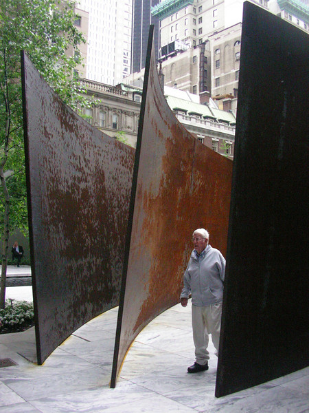 "First was Intersection II, a set of four conic sections maybe 13 feet high and 50 feet on the chord in 2"" or so thick Corten steel."