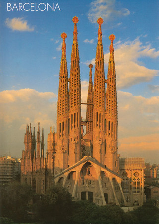 (postcard) Sagrada Familia. The other backpackers we met referred to this as the ?melting church?