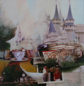 Our Trip to Disney World, 1975 (My Favorite Ride Was The Teacup Spin) Mixed Media Collage, 2009