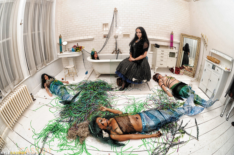 Cynthia Von Buhler's oil stained Mermaids, illustrator Molly Crabapple visits to chat. Installation at Castle Von Buhler, 2011.