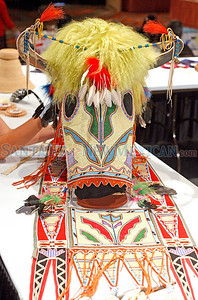 A horse mask by Vanessa Paukeigope, winner of diverse art at Indian Market 2010.             Luis Sanchez Saturno/ The New Mexican.
