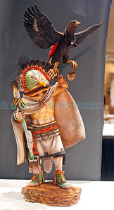 A wooden carving by Stetson Honyonptewa, winner in pueblo wooden carving at Indian Market 2010.             Luis Sanchez Saturno/ The New Mexican.