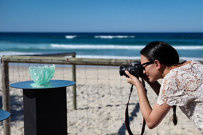 (Artist Capturing Art) - Suspected Illegal Entry Vessel SIEV, Erika Mayer - Swell Sculpture Festival 2012, Visit 1; Currumbin, Gold Coast, Queensland, Australia; 20 September 2012. Photos by Des Thureson