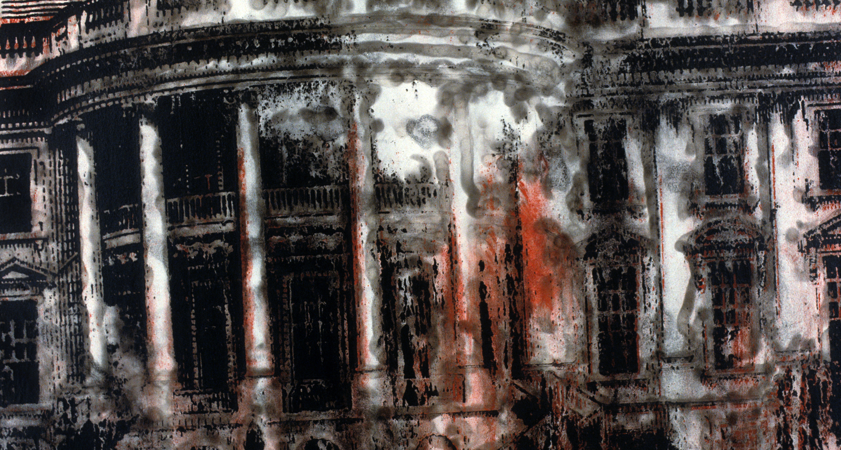 """Withstanding Deadly Attack From Within. Acrylic and smoke on canvas, 32"""" x 44,"""" 1992."""