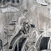 CDW 7049 Paris Cafe, Charcoal on Paper, 9x12 inches