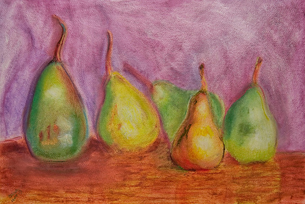 CDW 7246  5 Pears or 5 Half Pairs<br /> <br /> Oil Pastel on Paper<br /> <br /> 12x18 inches<br /> <br /> File 12 18 13<br /> <br /> $300<br /> <br /> Completed 12 29 13