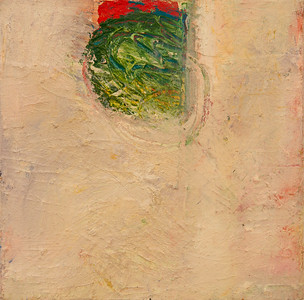 """""""One In a Row, no. 15""""; 8"""" x 8""""; oil and collage on canvas"""