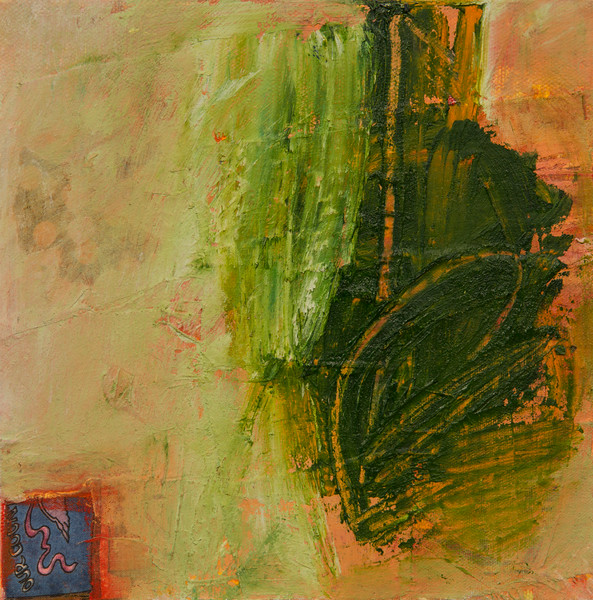 """""""One In a Row, no. 17""""; 8"""" x 8""""; oil and collage on canvas"""
