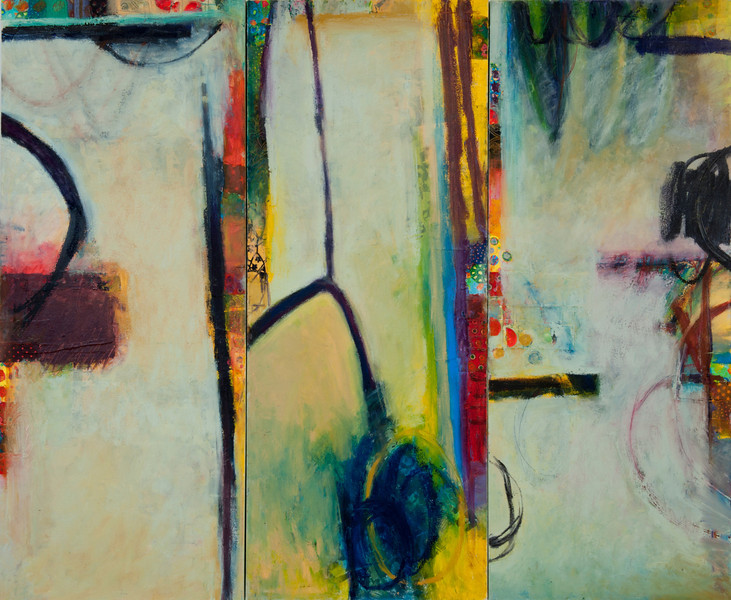 """""""In Particular""""; 60"""" x 72"""" (152.4 cm x 183 cm); oil and collage on canvas"""