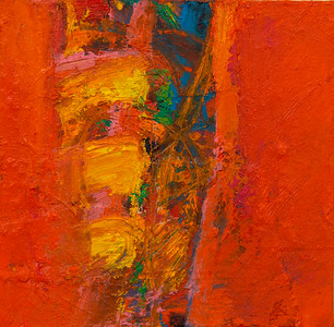 """""""One In a Row, no. 16""""; 8"""" x 8""""; oil and collage on canvas"""