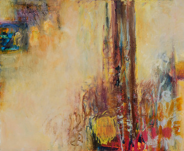 """""""It Happens There, no. 3""""; 38"""" x 46""""; oil and collage on canvas (SOLD)"""