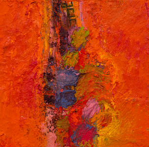 """""""One In a Row, no. 18""""; 8"""" x 8""""; oil and collage on canvas"""