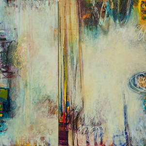 """It Won't Answer When I Ask It's Name, no. 5""; oil and collage on canvas; 60"" x 60"" (152.4 x 152.4 cm)"