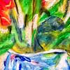 Detail - Roses in a Blue Vase