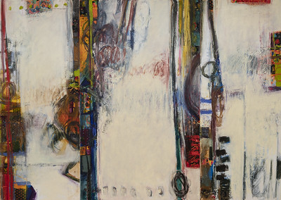"""60"""" X 84""""; oil & collage on canvas"""