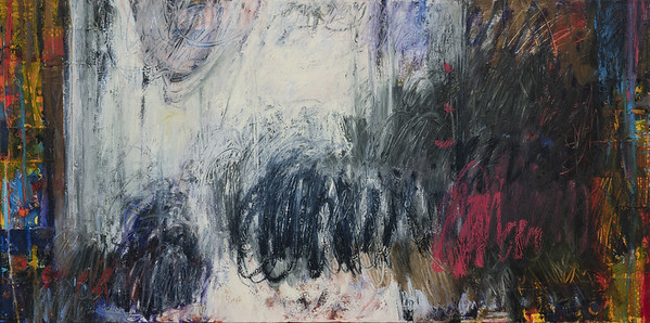 """36"""" x 60""""; oil & collage on canvas"""
