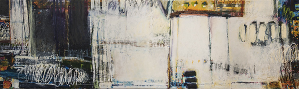 """Let's Talk, no. 2""; 36"" x 120""; oil & collage on canvas"