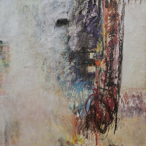 """42"""" x 42""""; oil & collage on canvas"""