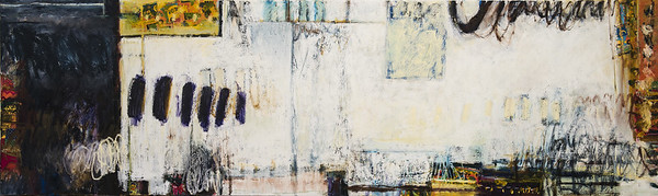 "Let's Talk, no. 1;  36"" x 120""; oil & collage on canvas"