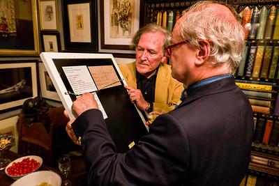Robert showing Martin Muller rear of Jackson Pollock silk screening
