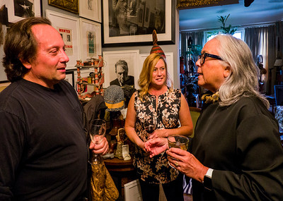 (L-R) ?,  Stacey M. Carter, artist/photographer; Lourdes Agnes Livingston, artist - Robert Flynn Johnson party for his son and grandchildren, at his home in San Francisco