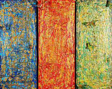 Panthea's Dream - March 2010 - triptych - 12x30 - mixed media on canvas.