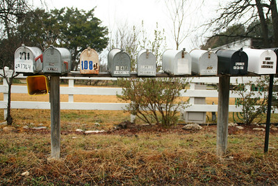 Day 15: January 15  Jayson and I noticed this row of mail boxes the first night at the lake, so before we left I told him to stop so I could take a picture.