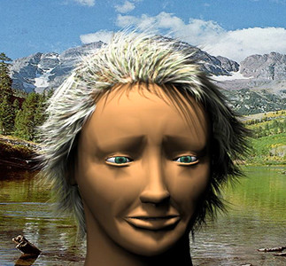 3D CGI Image of head with deformable hair
