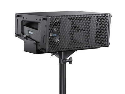 3D Rendering of MINA Loudspeaker - Pole Mounted on a MUB-MINA Mounting Bracket.