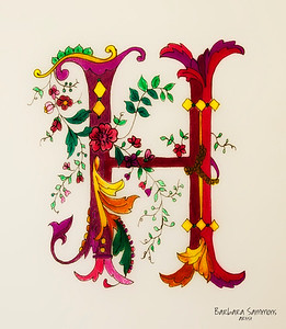 Letter H - Pen/Ink and Colored Pencils