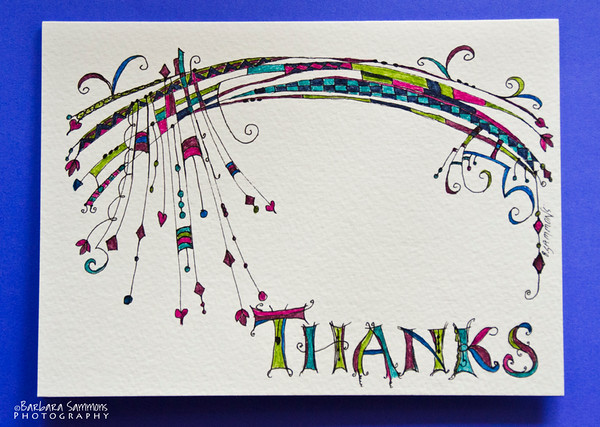 Whimsical Thank You Card - pen and ink
