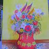 Flowers in Red Vase, 10x14 watercolor, nov 2012 CIMG8004