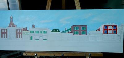 Main Street: Saranac Lake, 12x36, oil, jan 18, 2013