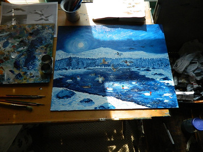 Night Landing, oil, 16x20, sep 7, 2012 DSCN1440