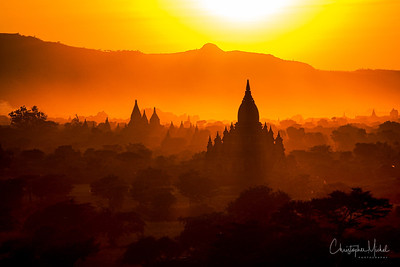 Sunset in Bagan, Myanmar.