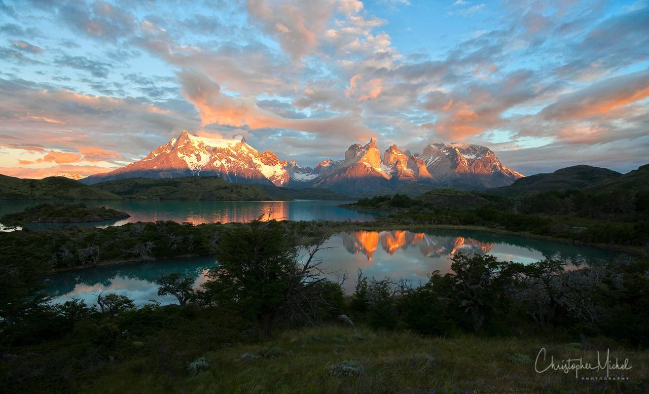 Sunrise at Torres Del Paine National Park.