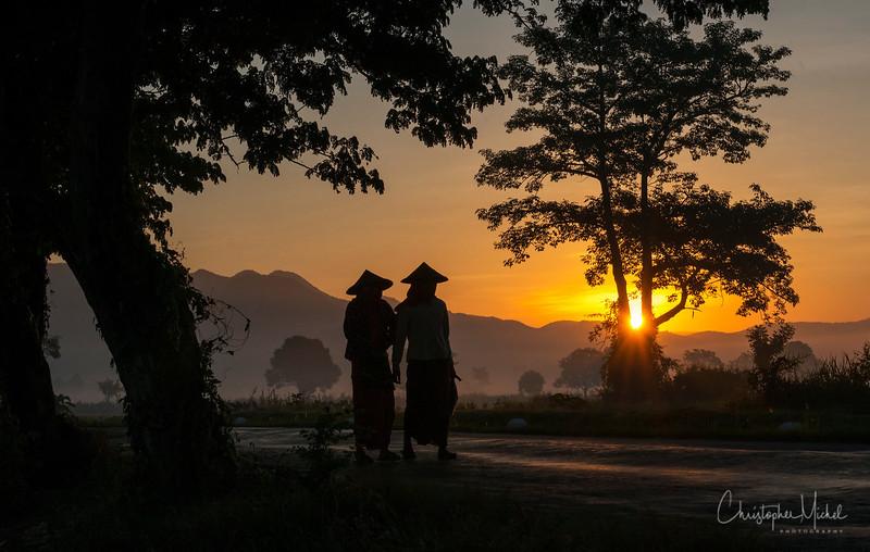 Morning in Mandalay, Myanmar.
