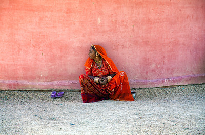 A woman waits in Rajasthan, India.